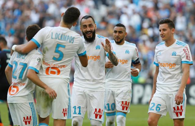 Soccer Football - Ligue 1 - Olympique de Marseille vs LOSC Lille - Orange Velodrome, Marseille, France - April 21, 2018 Marseille's Konstantinos Mitroglou celebrates scoring their fourth goal with Lucas Ocampos and team mates REUTERS/Philippe Laurenson