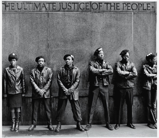 <p>The young protesters of the late 1950s/early 1960s civil-rights era favored a clean-cut, preppy collegiate look, to underscore their respectability and nonviolent-protest ethos. Imagine the visual punch then when the Panthers hit the streets: head-to-toe black, Afros under berets, dark Wayfarers, turtlenecks, leather car coats — and guns. The gun part was controversial, but the unsmiling, all-business fierceness of the look could not be denied. Newton and Seale wanted Panthers to be recognizable wherever they went and chose the beret as a nod to the WWII French resistance who fought Nazi occupation. (<i>Photo: Getty Images)</i></p>