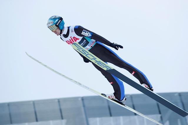 FIS Ski Jumping World Cup - Men's HS134 - Oslo, Norway - March 10, 2018. Michael Hayboeck of Austria competes. NTB Scanpix/Terje Bendiksby via REUTERS ATTENTION EDITORS - THIS IMAGE WAS PROVIDED BY A THIRD PARTY. NORWAY OUT. NO COMMERCIAL OR EDITORIAL SALES IN NORWAY.