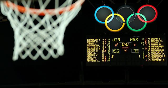 LONDON, ENGLAND - AUGUST 02: The score board is seen showing the final score of the United States defeating Nigeria 156-73 during the Men's Basketball Preliminary Round match on Day 6 of the London 2012 Olympic Games at Basketball Arena on August 2, 2012 in London, England. (Photo by Christian Petersen/Getty Images)