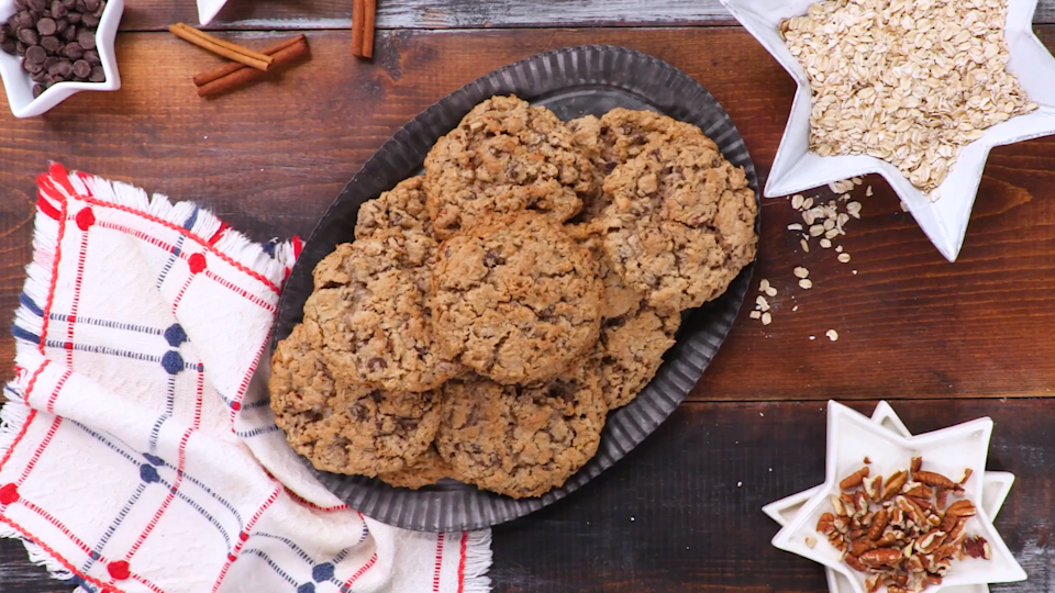 "<p><strong>Recipe: </strong><a href=""http://www.southernliving.com/recipes/cowboy-cookies-recipe"" rel=""nofollow noopener"" target=""_blank"" data-ylk=""slk:Laura Bush's Cowboy Cookies"" class=""link rapid-noclick-resp""><strong>Laura Bush's Cowboy Cookies</strong></a></p> <p>There's a lot more going on than just chocolate chips in these stuffed-to-the-brim cookies that will be gone before they're even fully cooled.</p>"