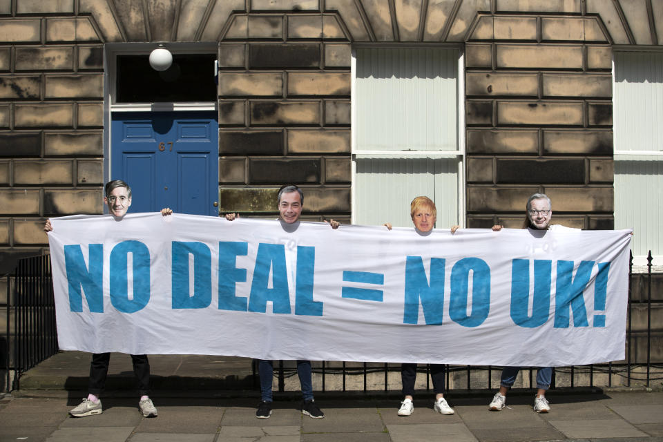 Young activists from Our Future, Our Choice held a protest outside the Scottish Conservative's HQ in Edinburgh to warn that a no-deal Brexit threatens the future of the Union. (Photo by Jane Barlow/PA Images via Getty Images)