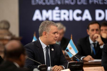 Colombia's President Ivan Duque attends the Prosur summit of South American leaders at La Moneda palace in Santiago