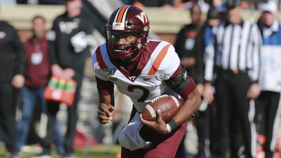Virginia Tech's Hendon Hooker has thrown 11 touchdowns and just two interceptions. (AP Photo/Steve Helber)