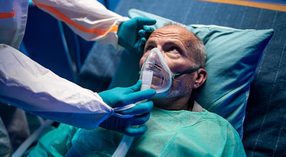 Old man in intensive care unit.