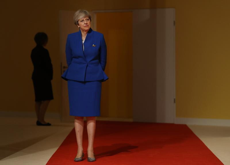 Theresa May dressed in Tory blue for the 2017 G20 Summit in Hamburg, Germany [Photo: Getty]