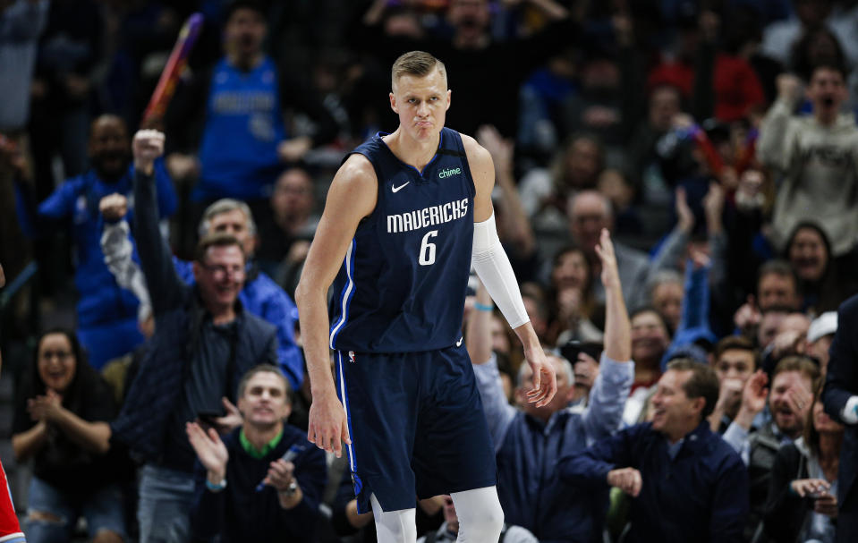 Gelling with Luka Doncic and thriving in a new role at center, Kristaps Porzingis has arrived in Dallas. (AP Photo/Brandon Wade)