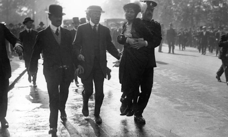 Emmeline and Christabel Pankhurst are arrested during a protest in May 1914