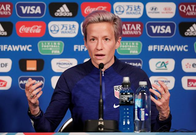 """At a press conference in Paris on Thursday, United States forward <a class=""""link rapid-noclick-resp"""" href=""""/olympics/rio-2016/a/1124356/"""" data-ylk=""""slk:Megan Rapinoe"""">Megan Rapinoe</a> said she stood by comments made earlier this year about declining any post-World Cup White House invite. (Reuters/Benoit Tessier)"""