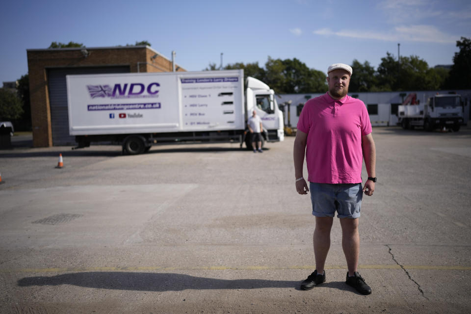 Learner truck driver Stephen Thrower poses for a portrait at the National Driving Centre in Croydon, south London, Wednesday, Sept. 22, 2021. Britain doesn't have enough truck drivers. The shortage is contributing to scarcity of everything from McDonald's milkshakes to supermarket produce. (AP Photo/Matt Dunham)