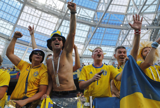 Swedish supporters celebrate after the group F match between Sweden and South Korea at the 2018 soccer World Cup in the Nizhny Novgorod stadium in Nizhny Novgorod, Russia, Monday, June 18, 2018. Sweden won 1-0. (AP Photo/Pavel Golovkin)
