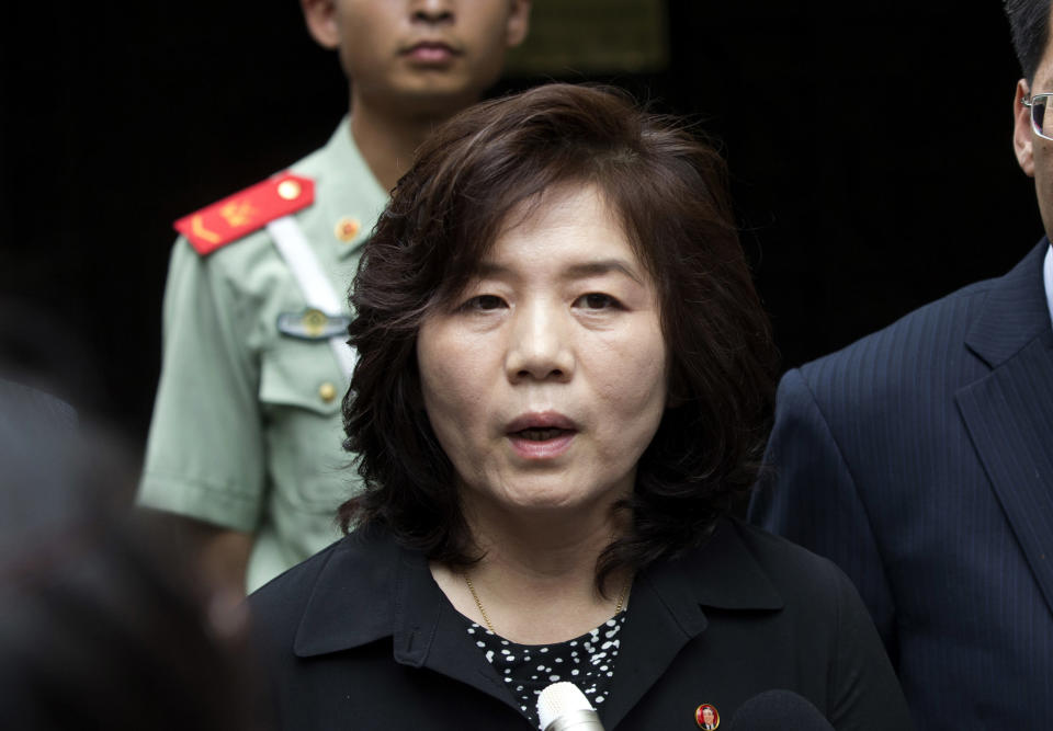 FILE - In this Thursday, June 23, 2016 file photo, Choe Son Hui, deputy director general of the Department of US Affairs of North Korea Foreign Ministry, briefs journalists outside the North Korean embassy in Beijing, China. North Korea says it's willing to resume nuclear diplomacy with the United States in late September. But First Vice Foreign Minister Choe Son Hui said Monday, Sept. 9, 2019 that the United States must come to the negotiating table with proposals that satisfy North Korea, or dealings between the two countries will come to an end. (AP Photo/Andy Wong, file)