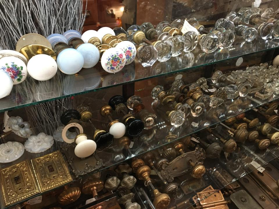 """This Oct. 15, 2019 photo shows a selection of vintage doorknobs and other items, available for sale at Olde Good Things salvage store in New York. Two of the hottest trends in home decor are sustainability and authenticity. """"It's about both history and sustainability,"""" says Madeline Beauchamp of Olde Good Things, one of the oldest architectural salvage businesses in the country, with one shop in Los Angeles, another in Scranton, Pennsylvania, two stores in New York, and a flagship store to open soon in Midtown Manhattan. (Katherine Roth via AP)"""