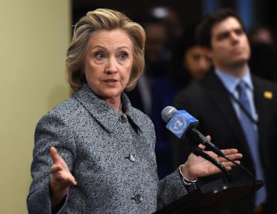 Hillary Clinton answers questions from reporters March 10, 2015 at the United Nations in New York. (Don Emmert/AFP Photo)