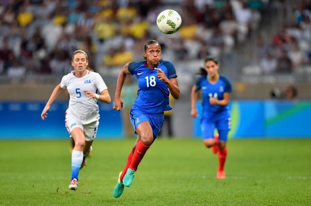 <p>Marie Laure Delie of France runs after the ball during the Women's Group F first round match between United States and France during Day 1 of the Rio 2016 Olympic Games at Mineirao Stadium on August 6, 2016 in Belo Horizonte, Brazil. (Photo by Pedro Vilela/Getty Images) </p>