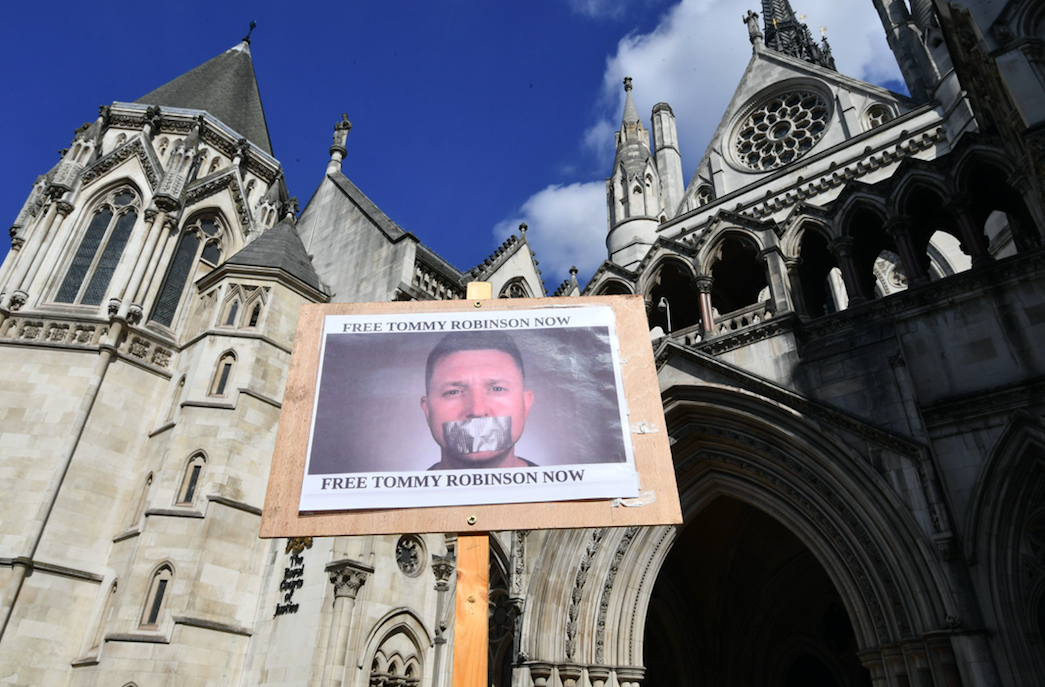 <em>Robinson supporters turned up outside the Court of Appeal to await the verdict of the appeal hearing (PA)</em>