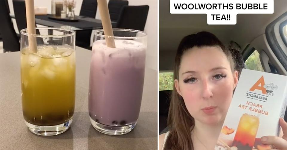 A side by side image of two cups of bubble tea and TikTok user @char.mac98 holding a peach flavour Avalanche bubble tea kit from Woolworths