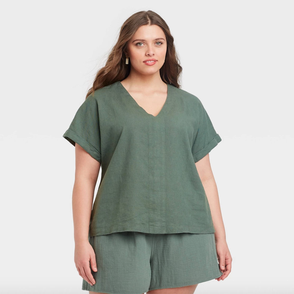 """<br><br><strong>Universal Threads</strong> Short Sleeve Blouse, $, available at <a href=""""https://go.skimresources.com/?id=30283X879131&url=https%3A%2F%2Fgoto.target.com%2FzaNoy6"""" rel=""""nofollow noopener"""" target=""""_blank"""" data-ylk=""""slk:Target"""" class=""""link rapid-noclick-resp"""">Target</a><br><br><strong>Universal Thread</strong> High-Rise Pull-On Shorts, $, available at <a href=""""https://go.skimresources.com/?id=30283X879131&url=https%3A%2F%2Fgoto.target.com%2FjWr9n0"""" rel=""""nofollow noopener"""" target=""""_blank"""" data-ylk=""""slk:Target"""" class=""""link rapid-noclick-resp"""">Target</a>"""