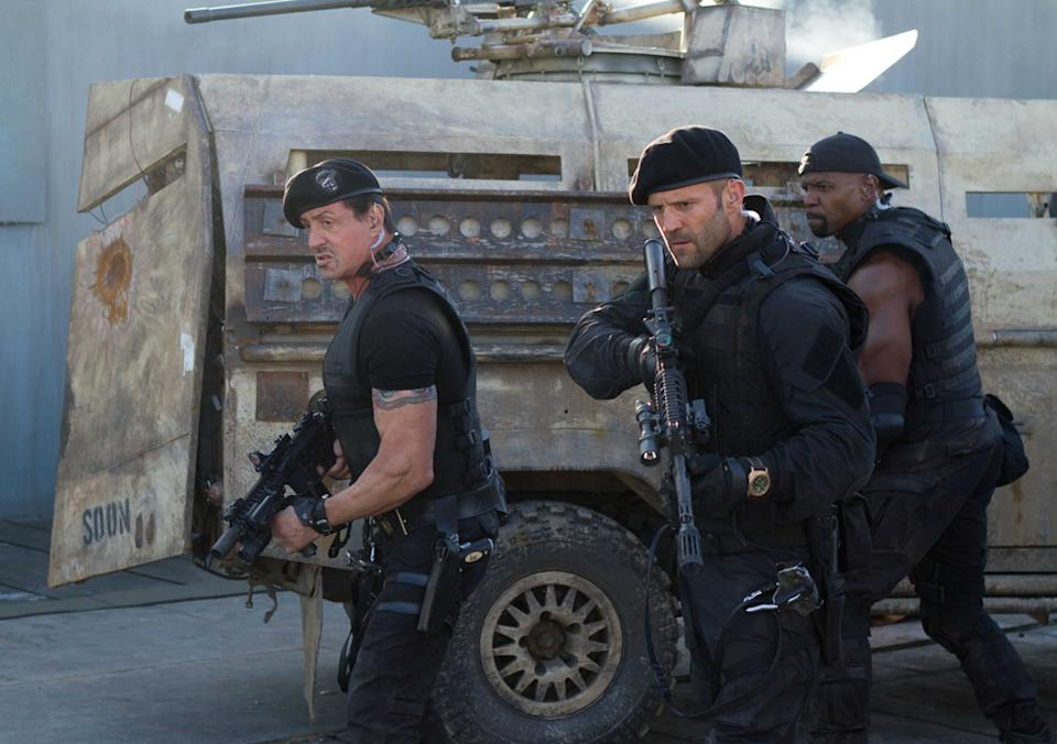 """Sylvester Stallone, Jason Statham and Terry Crews in Lionsgate's """"The Expendables 2"""" - 2012"""