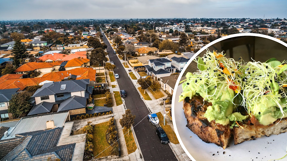Pictured: Aerial view of Australian houses and avocado on toast. Images: Getty
