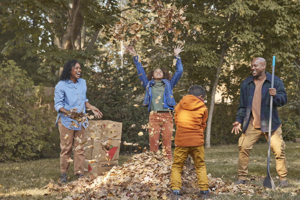 Family playing in leaves and doing fall yardwork, fall lawn care