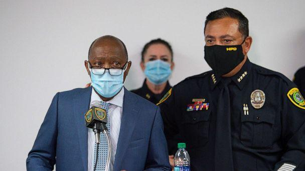 PHOTO: Mayor Sylvester Turner talks to reporters about the officer-involved fatal shooting of Nicolas Chavez, during a press conference at the Edward A. Thomas building, Sept. 10, 2020, in Houston.  (Godofredo A. Vasquez/Houston Chronicle via AP)