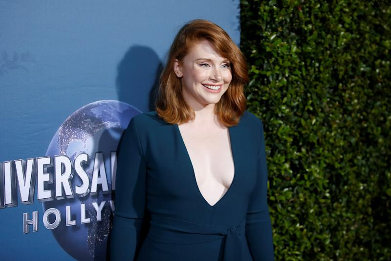"Actor Bryce Dallas Howard poses at the ""Jurassic World - The Ride"" grand opening celebration at Universal Studios Hollywood theme park in Universal City, California, U.S., July 22, 2019. REUTERS/Danny Moloshok"