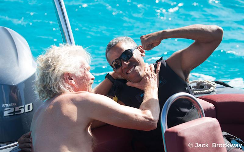 Sir Richard Branson and former President of the United States Barack Obama on the British Virgin Islands, February 2017 - Credit: PA