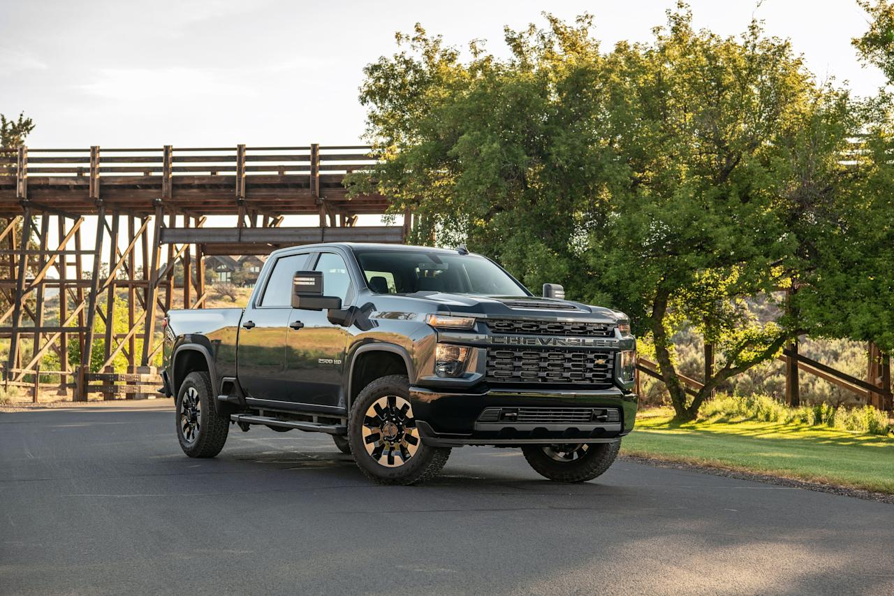 <p>Two powertrains are available in the 2020 Silverado 2500 and 3500 HD models, a new 6.6-liter gas V-8 and a 6.6-liter diesel V-8 with additional cooling capability. The diesel is coupled to a 10-speed Allison transmission as standard equipment. Max towing is increased by a massive 52 percent in the diesel, while the new gas engine bumps max towing 18 percent.</p>