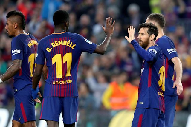 Ousmane Dembele and Lionel Messi played key roles in Barcelona's win over Villarreal. (EFE)