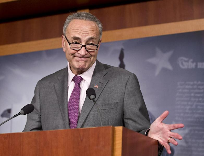 Sen. Chuck Schumer, D-N.Y., expresses his dismay at Russian Vladimir Putin leader granting asylum to American secrets leaker Edward Snowden, at a news conference at the Capitol in Washington, Thursday, Aug. 1, 2013. Defying the United States, Russia granted Edward Snowden temporary asylum on Thursday, allowing the National Security Agency leaker to slip out of the Moscow airport where he has been holed up for weeks in hopes of evading espionage charges back home. (AP Photo/J. Scott Applewhite)