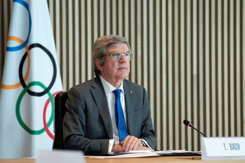 IOC President Bach welcomes participants to the virtual International Olympic Committee Executive Board in Lausanne