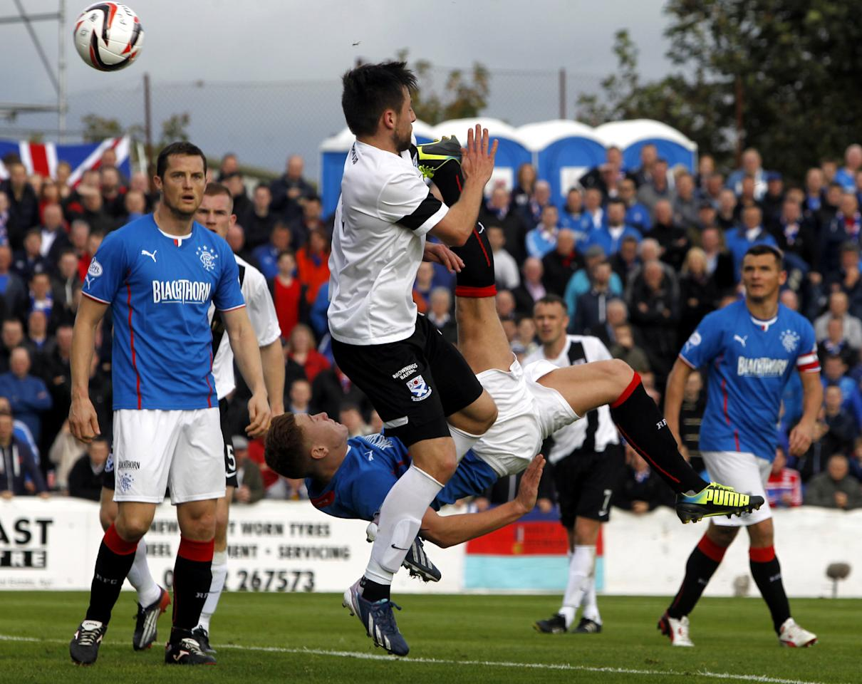 Rangers' Lewis McLeod scores a goal ball during the Scottish League One match at Somerset Park, Ayr.