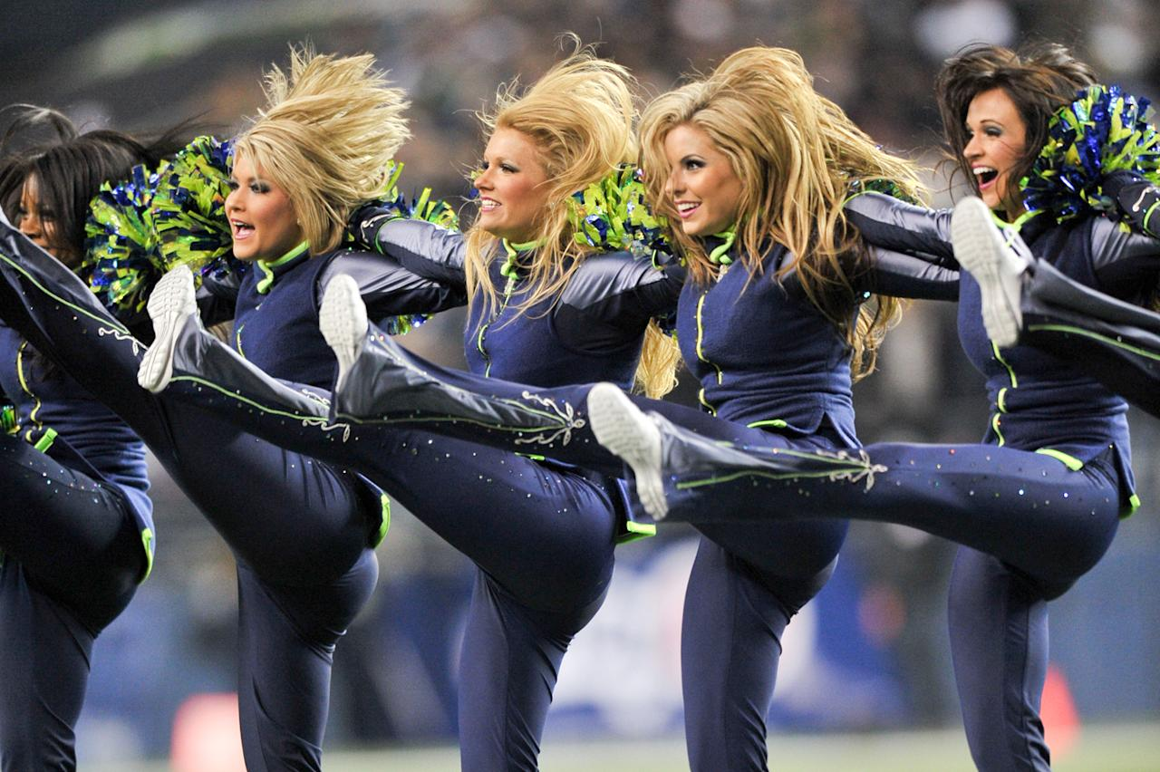 The Seattle Seahawks cheerleaders dance during the game against the Seattle Seahawks at Lincoln Financial Field on December 1, 2011 in Seattle, Pennsylvania. The Seahawks won 31-14. (Photo by Drew Hallowell/Philadelphia Eagles/Getty Images)