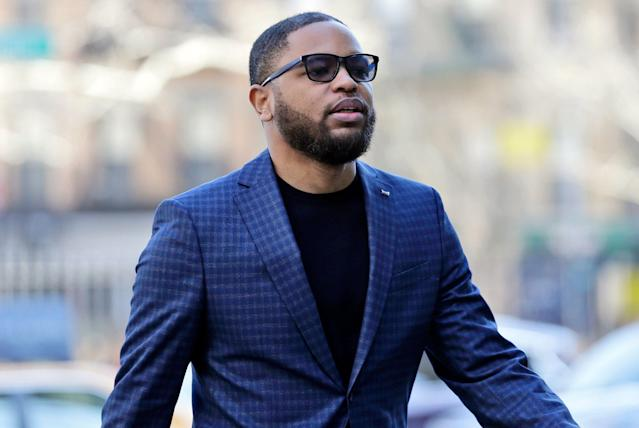 Christian Dawkins arrives at federal court in New York. Dawkins took the stand in his own defense Wednesday during the second federal trial on basketball corruption. (AP)