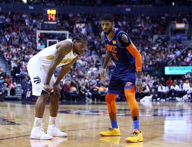 Kawhi Leonard and Paul George are both among the NBA's best two-way players. (Getty Images)