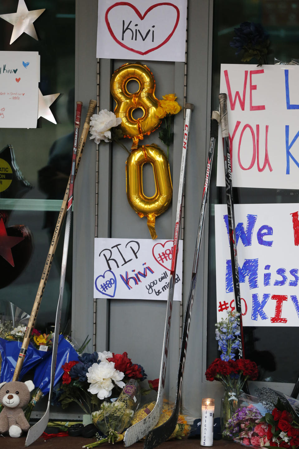 A makeshift memorial was erected in front of Nationwide Arena Monday, July 5, 2021, in Columbus, Ohio, to remember Columbus Blue Jackets goaltender Matiss Kivlenieks who died of chest trauma from an errant fireworks mortar blast in what authorities described Monday as a tragic accident on the Fourth of July. (AP Photo/Jay LaPrete)