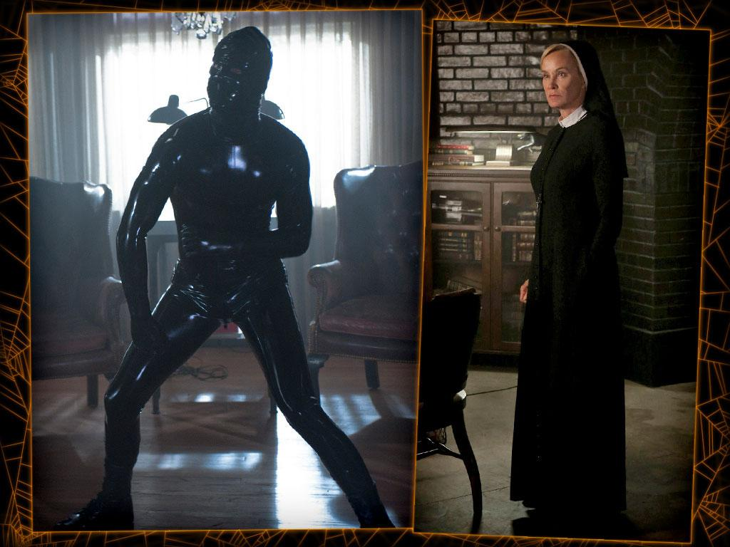 "<b>Rubber-suited assailant or nun</b> (""American Horror Story"")<br><b>Level of difficulty:</b> For men, hard (and tight); for women, medium<br><br>""American Horror Story"" has a variety of costumes to choose from for both genders, but if you don't want to hire a monster-movie makeup guy for a single night of dress-up, these are your best bets for keeping it simple. Not that a shiny latex unitard is the easiest sell for you men out there; it's skin-tight, the hooded head is going to make it hard to breathe (or eat candy), and it's probably going to cost you a pretty penny. (Your best bet for finding such a suit: your local Babeland or other ""adult toy"" store.) On the other hand, we'd have to admire your cojones (…literally; like we said, ""skin-tight"") for busting out in a bodysuit.<br><br>Women have it easier: a Sister Jude nun outfit is a commitment, but it's nice and loose, most costume stores will have one, and you won't really have to worry about hair or makeup. Throw a big crucifix over the whole thing, and you're done. (Rehearsing a convincing Bahston accent beforehand will really wow them.)"