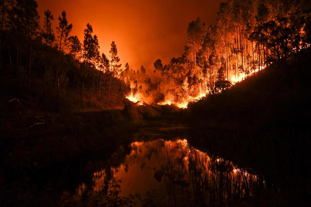<p>Fire is reflected in a stream at Penela, Coimbra, central Portugal, on June 18, 2017. At least 62 people have been killed in forest fires in central Portugal, many of them trapped in their cars as flames swept over a road Saturday evening. (Patricia De Melo Moreira/AFP/Getty Images) </p>