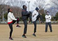 Athletes from South Sudan attend their training session in preparation for the Tokyo 2020 Olympic and Paralympic Games amid the coronavirus disease (COVID-19) outbreak, in Maebashi