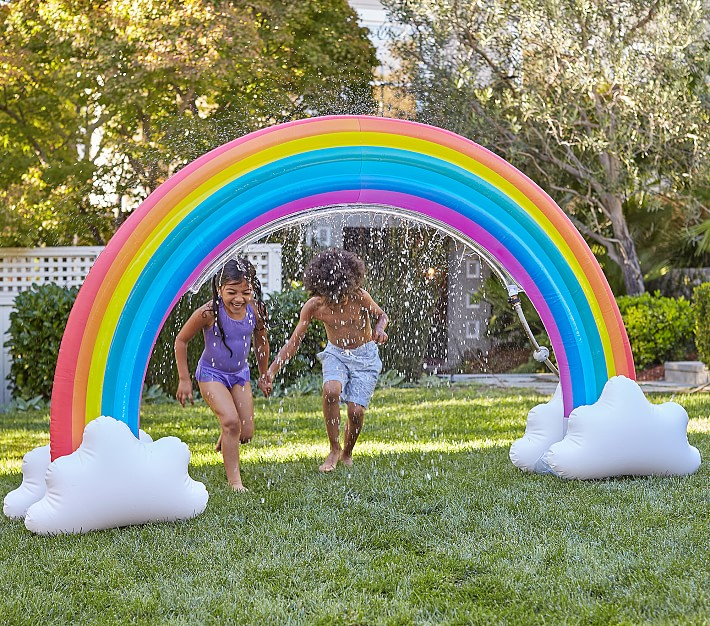 """<h2>Pottery Barn Kids</h2><br>Another kid-centric site that does not disappoint on the imaginative inflatable-pool front — we're spotted everything from life-sized rainbow sprinklers to giant dinosaurs. <br><br><em>Shop outdoor activities at <strong><a href=""""https://www.potterybarnkids.com/shop/toys-gifts/outdoor-toys/"""" rel=""""nofollow noopener"""" target=""""_blank"""" data-ylk=""""slk:Pottery Barn Kids"""" class=""""link rapid-noclick-resp"""">Pottery Barn Kids</a></strong></em><br><br><strong>Pottery Barn Kids</strong> Rainbow Inflatable Sprinkler, $, available at <a href=""""https://go.skimresources.com/?id=30283X879131&url=https%3A%2F%2Fwww.potterybarnkids.com%2Fproducts%2Frainbow-inflatable-sprinkler%2F"""" rel=""""nofollow noopener"""" target=""""_blank"""" data-ylk=""""slk:Pottery Barn Kids"""" class=""""link rapid-noclick-resp"""">Pottery Barn Kids</a>"""