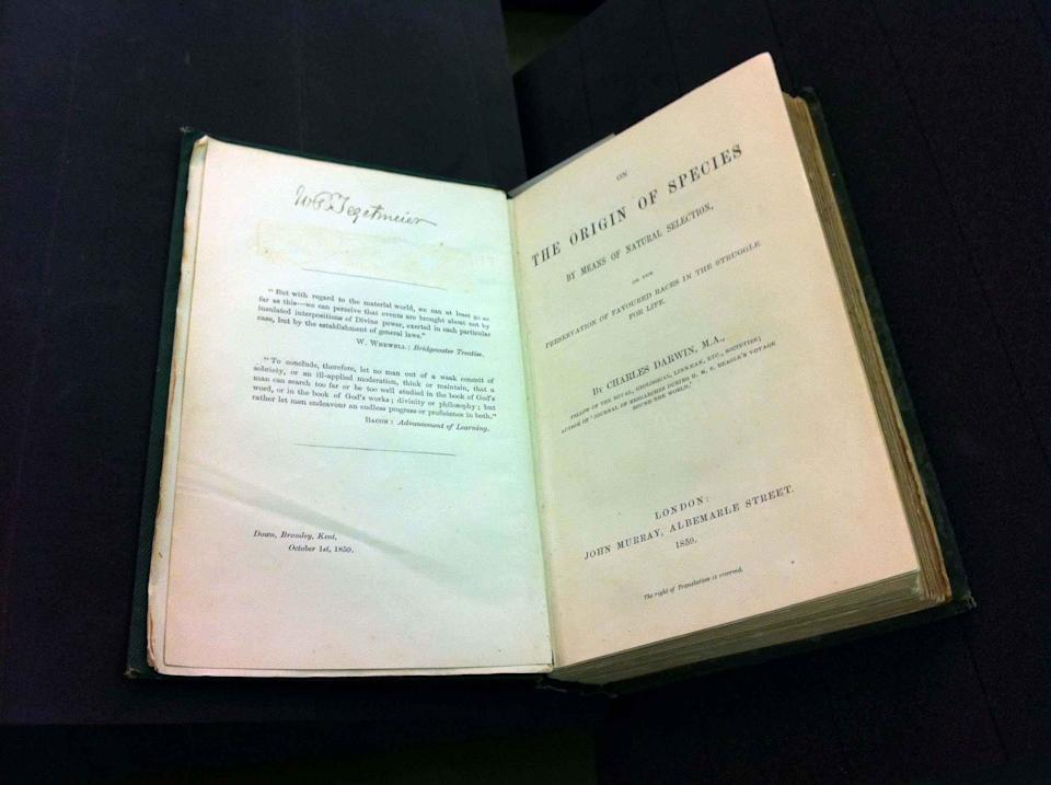 On the Origin of Species first edition – a rare copy of the book that changed the way we look at the world around us. Considered the most important book in biology, it describes Darwin's theory of evolution by natural selection. (Natural History Museum)