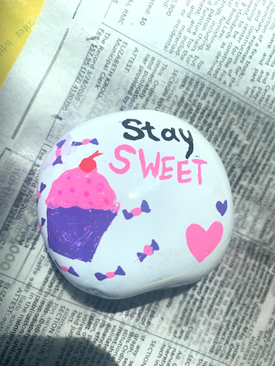 """<p>""""Addison Viscardi of Oradell, New Jersey, painted hundreds of inspirational rocks and left them all over her town for residents to find. She wanted to inspire hope and kindness.""""</p>"""