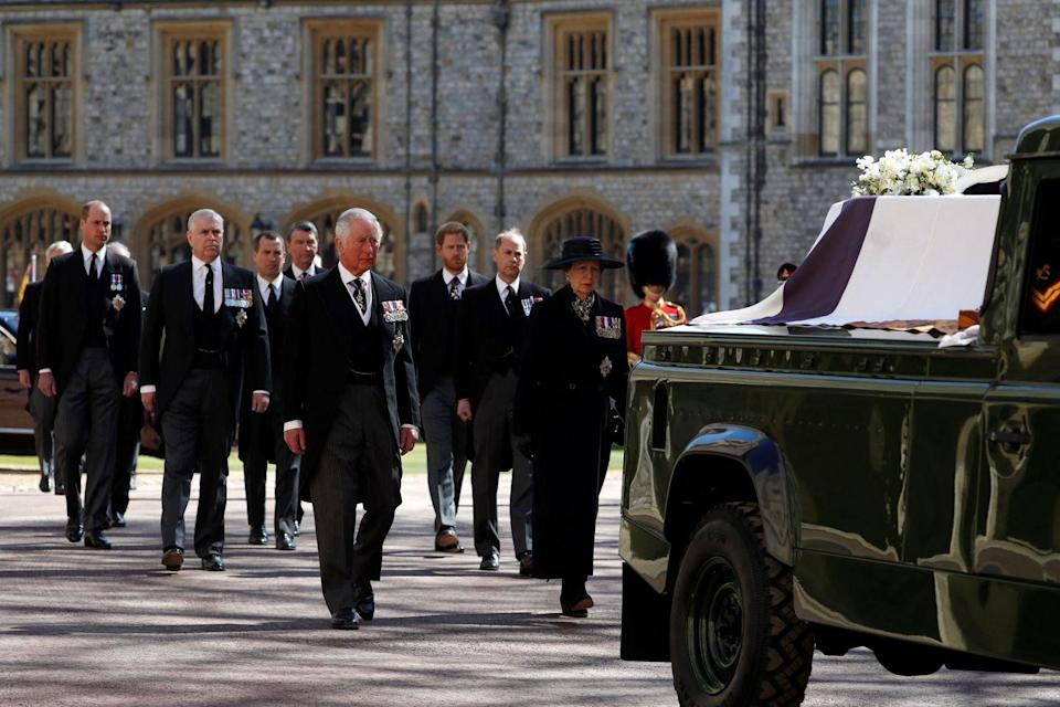 <p>Members of the royal family walk in the official procession behind Prince Philip's coffin. </p>