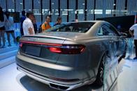 Audi vehicle with immersive in-car entertainment system is seen displayed at the CES Asia exhibition in Shanghai