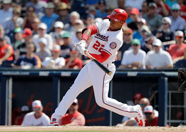"<a class=""link rapid-noclick-resp"" href=""/mlb/players/10626/"" data-ylk=""slk:Juan Soto"">Juan Soto</a> is a dark-horse MVP candidate in the NL. (AP Photo/Jeff Roberson)"
