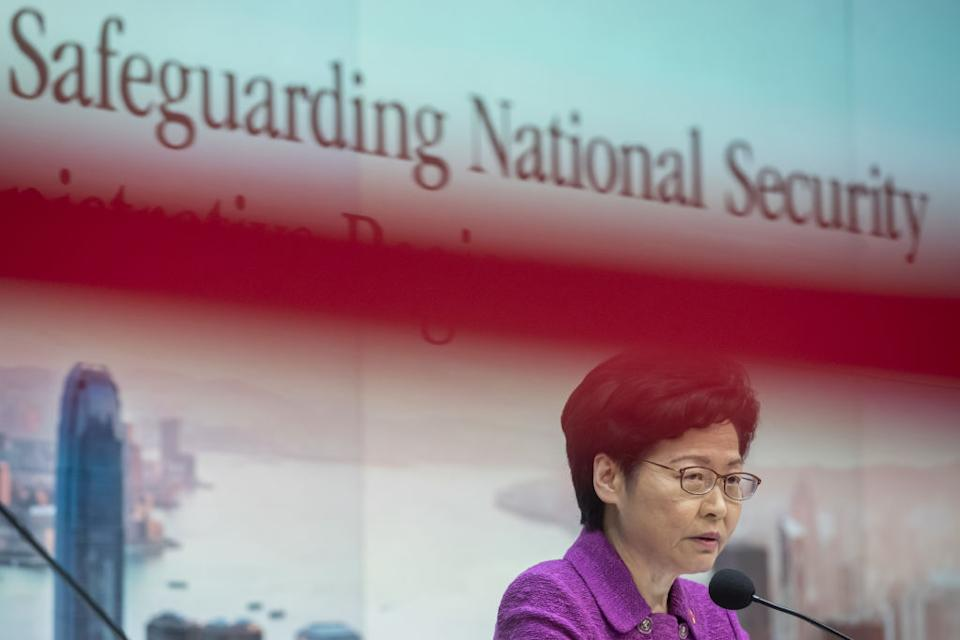 Carrie Lam, Hong Kong's chief executive, speaks at a news conference in Hong Kong, China, on Wednesday, July 1, 2020. | Paul Yeung/Bloomberg via Getty Images