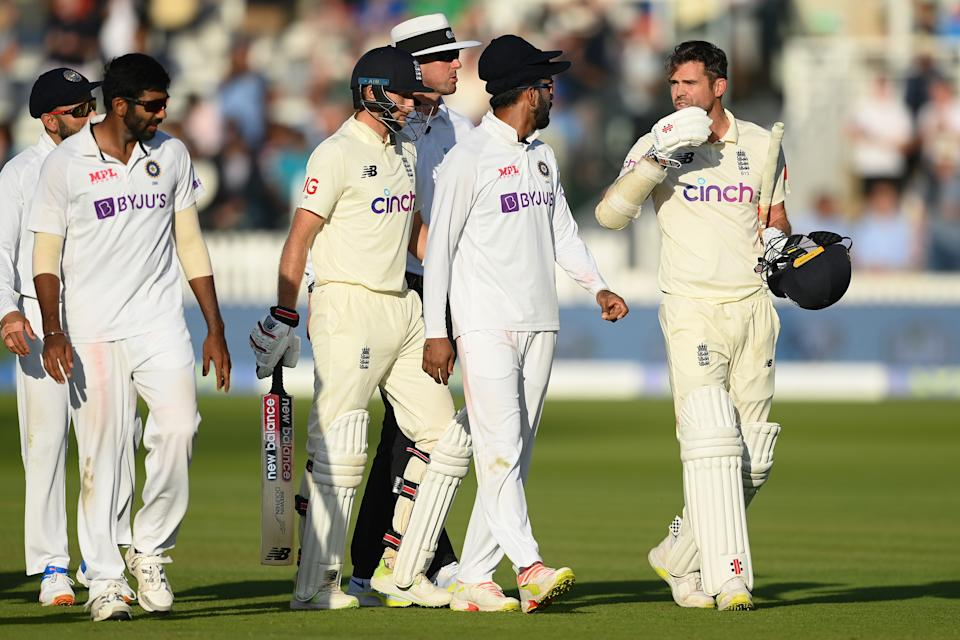 Jimmy Anderson has words with Jasprit Bumrah