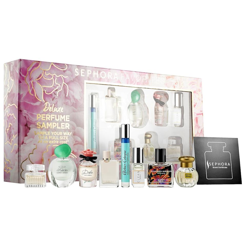 "<p>There are eight bestselling fragrances packed up into this <a href=""https://www.popsugar.com/buy/Sephora-Favorites-Mini-Deluxe-Perfume-Sampler-Set-568863?p_name=Sephora%20Favorites%20Mini%20Deluxe%20Perfume%20Sampler%20Set&retailer=sephora.com&pid=568863&price=75&evar1=bella%3Aus&evar9=47425767&evar98=https%3A%2F%2Fwww.popsugar.com%2Fbeauty%2Fphoto-gallery%2F47425767%2Fimage%2F47425770%2FSephora-Favorites-Mini-Deluxe-Perfume-Sampler-Set&prop13=mobile&pdata=1"" class=""link rapid-noclick-resp"" rel=""nofollow noopener"" target=""_blank"" data-ylk=""slk:Sephora Favorites Mini Deluxe Perfume Sampler Set"">Sephora Favorites Mini Deluxe Perfume Sampler Set</a> ($75) - including Burberry Her, Dolce and Gabbana Dolce Garden, and Tocca Florence - and <a href=""https://www.popsugar.com/Mother%E2%80%99s-Day"" class=""link rapid-noclick-resp"" rel=""nofollow noopener"" target=""_blank"" data-ylk=""slk:whomever gets this gift"">whomever gets this gift</a> can then pick out of full-sized version of their favorite afterwards.</p>"