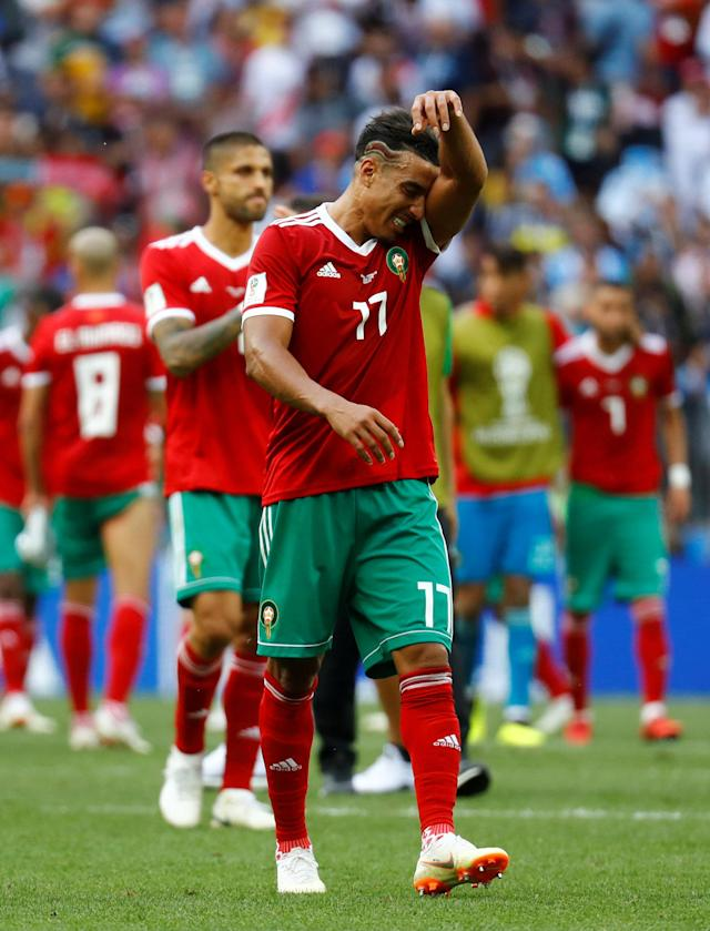 Soccer Football - World Cup - Group B - Portugal vs Morocco - Luzhniki Stadium, Moscow, Russia - June 20, 2018 Morocco's Nabil Dirar looks dejected after the match REUTERS/Kai Pfaffenbach TPX IMAGES OF THE DAY